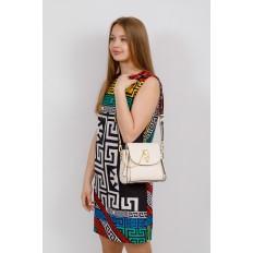 На фото 4 - Наплечная сумка из искусственной кожи с эффектным замком, цвет белый