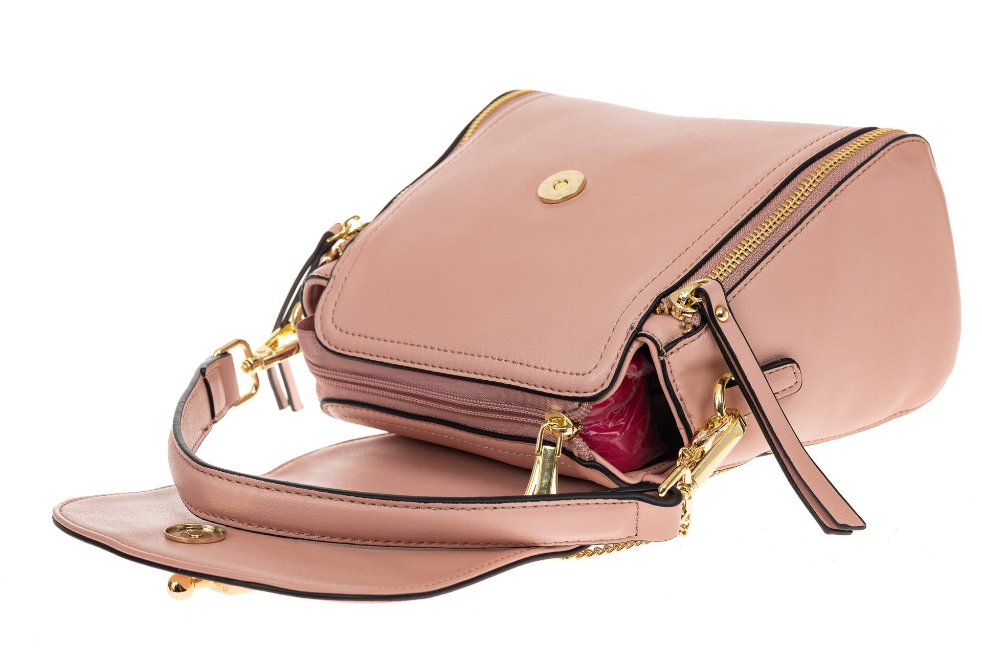 На фото 3 - Наплечная сумка из искусственной кожи с эффектным замком, цвет пудра