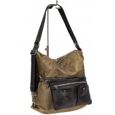 На фото 1 - Женская текстильная сумка, цвет хаки