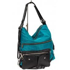 На фото 1 - Женская текстильная сумка, цвет зеленый