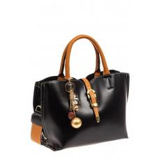 На фото 1 - Женская сумка тоут из искусственной кожи, цвет черный
