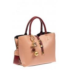 На фото 1 - Вместительная женская сумка тоут из искусственной кожи (экокожи), розовая