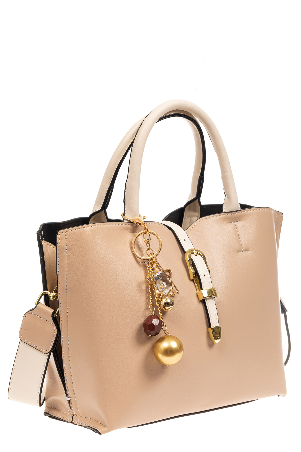 На фото 1 - Женская сумка тоут из искусственной кожи (экокожи), молочная