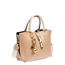 На фото 1 - Женская сумка тоут из искусственной кожи, цвет молочный