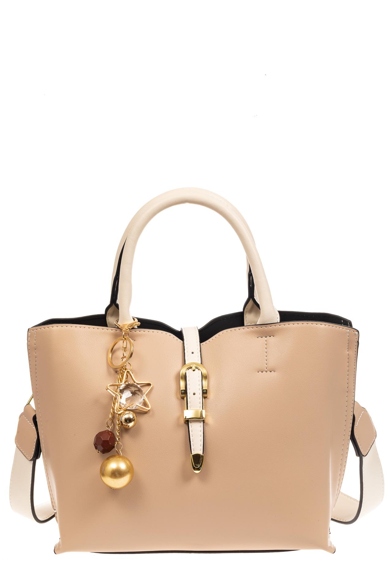 На фото 2 - Женская сумка тоут из искусственной кожи (экокожи), молочная