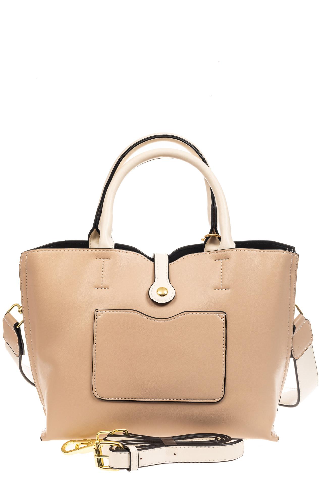 На фото 3 - Женская сумка тоут из искусственной кожи (экокожи), молочная