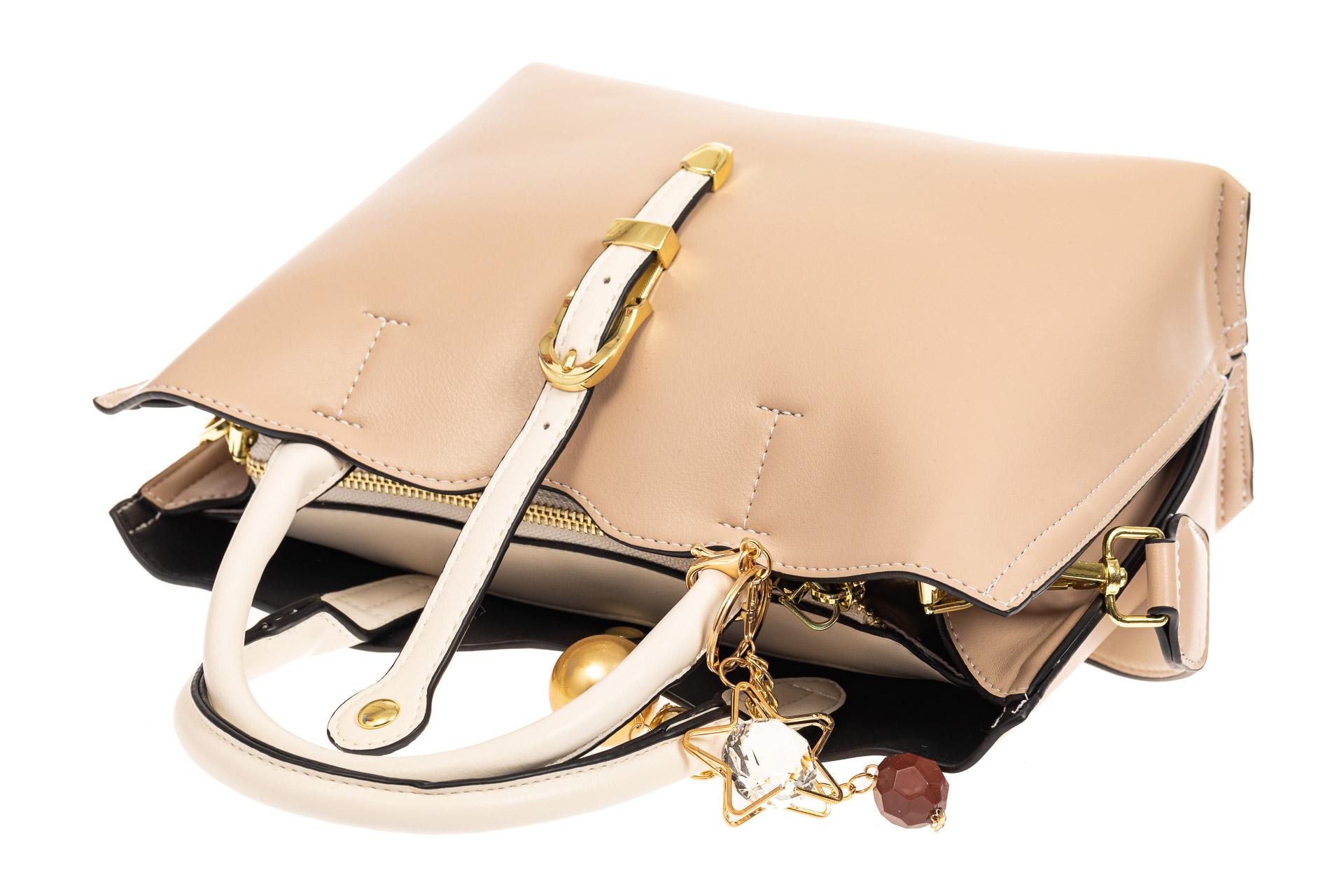 На фото 4 - Женская сумка тоут из искусственной кожи (экокожи), молочная