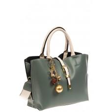 На фото 1 - Женская сумка тоут из искусственной кожи, цвет серо-голубой