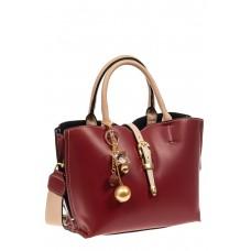 На фото 1 - Женская сумка тоут из искусственной кожи (экокожи), цвет бордовый