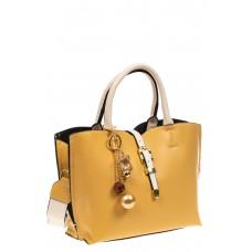 На фото 1 - Женская сумка тоут из искусственной кожи (экокожи), цвет желтый