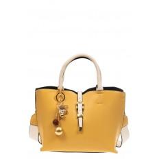 На фото 2 - Женская сумка тоут из искусственной кожи (экокожи), цвет желтый