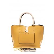 На фото 3 - Женская сумка тоут из искусственной кожи (экокожи), цвет желтый