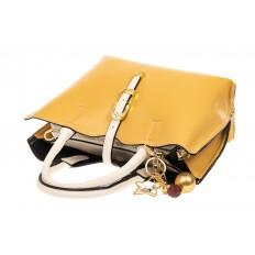 На фото 4 - Женская сумка тоут из искусственной кожи (экокожи), цвет желтый