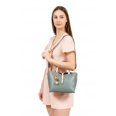 На фото 5 - Женская сумка тоут из искусственной кожи (экокожи), цвет желтый
