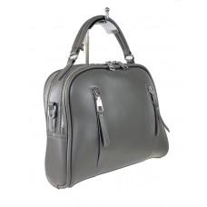 На фото 1 - Женская сумка-купол из искусственной кожи, цвет серый