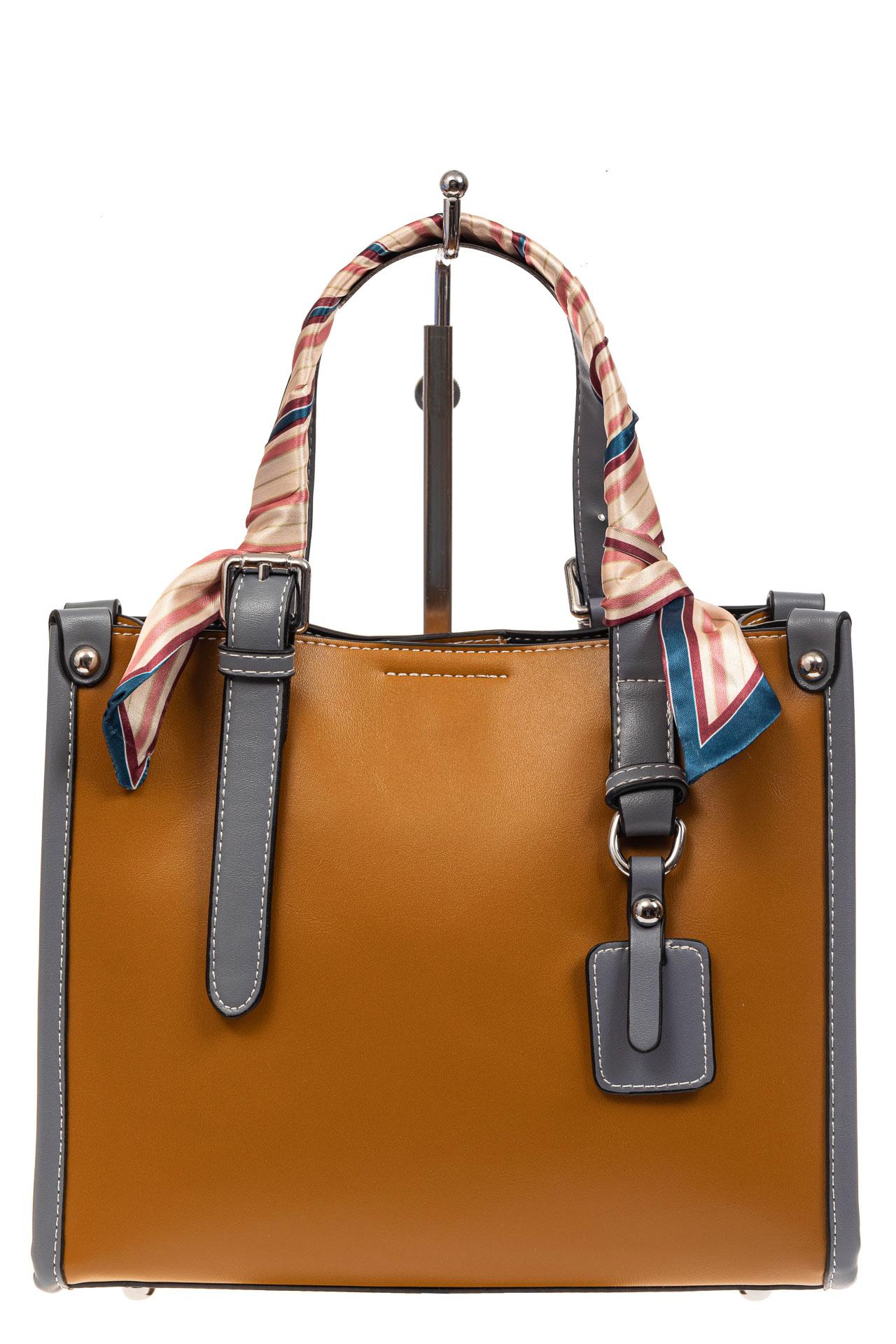 На фото 2 - Элегантная сумка женская тоут из искусственной кожи (экокожи), цвет рыжий