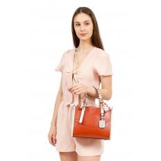 На фото 5 - Элегантная сумка женская тоут из искусственной кожи (экокожи), цвет рыжий