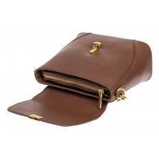 На фото 4 - Сумка кросс-боди из натуральной кожи с замком-вертушкой, цвет коричневый