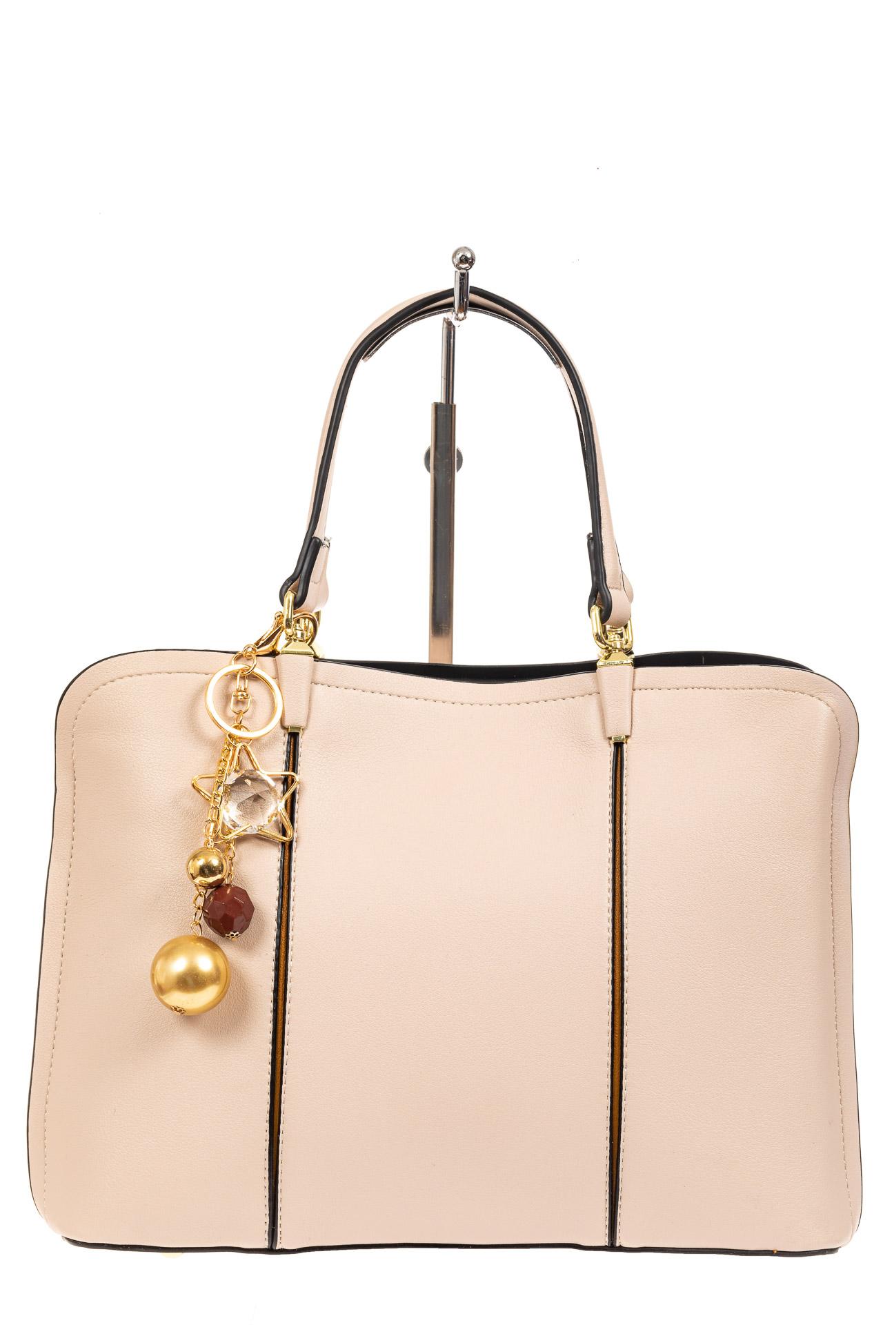 На фото 2 - Женская сумка тоут из искусственной кожи, цвет молочный