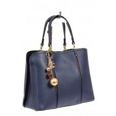 На фото 1 - Женская сумка тоут из искусственной кожи, цвет синий