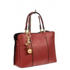На фото 1 - Женская сумка тоут из искусственной кожи, цвет бордовый