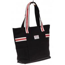 На фото 1 - Большая пляжная сумка из текстиля, цвет чер...