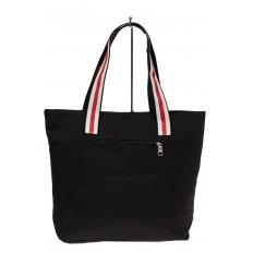 На фото 2 - Большая пляжная сумка из текстиля, цвет черный