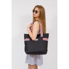 На фото 4 - Большая пляжная сумка из текстиля, цвет черный
