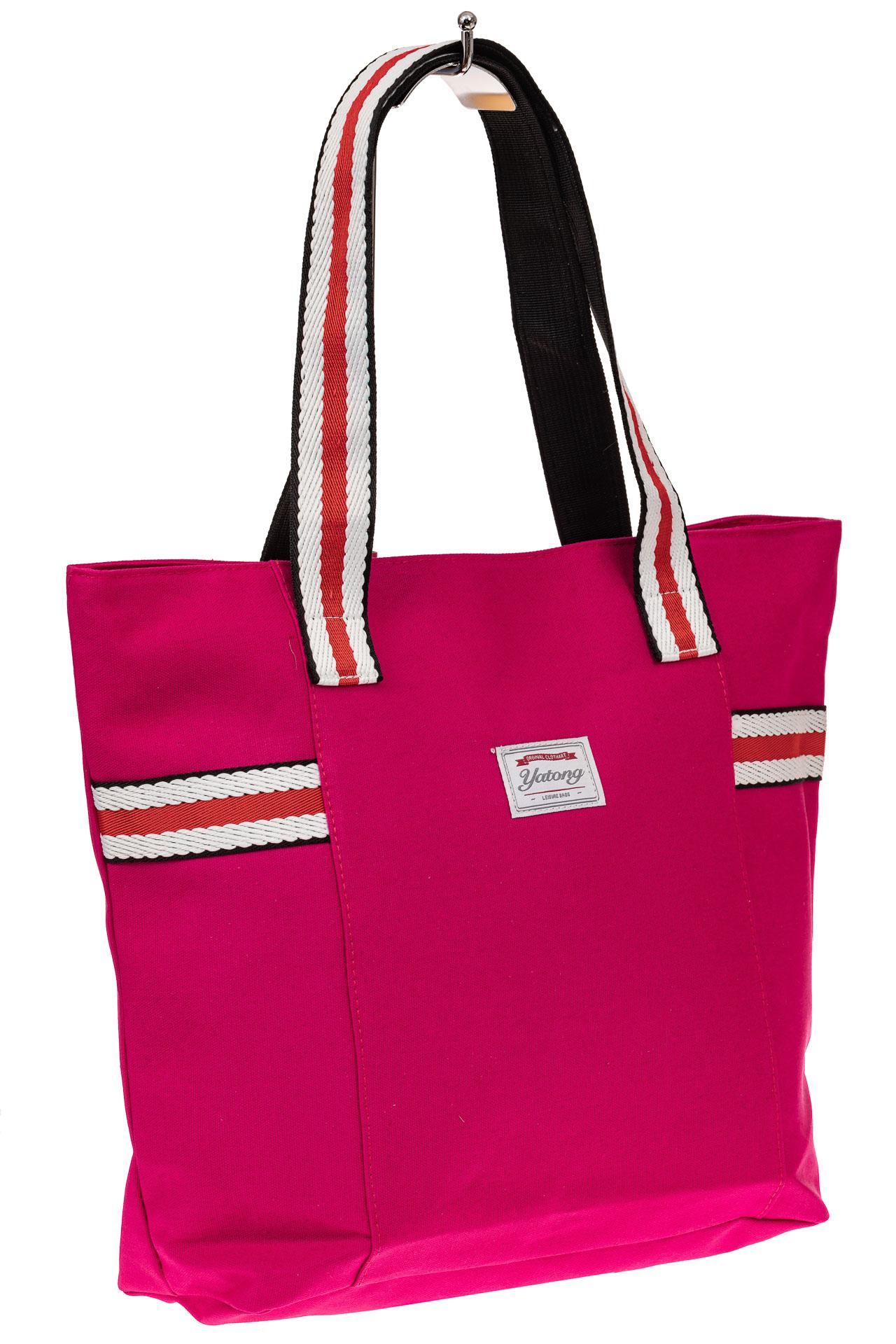 На фото 1 - Большая пляжная сумка из текстиля, цвет розовый