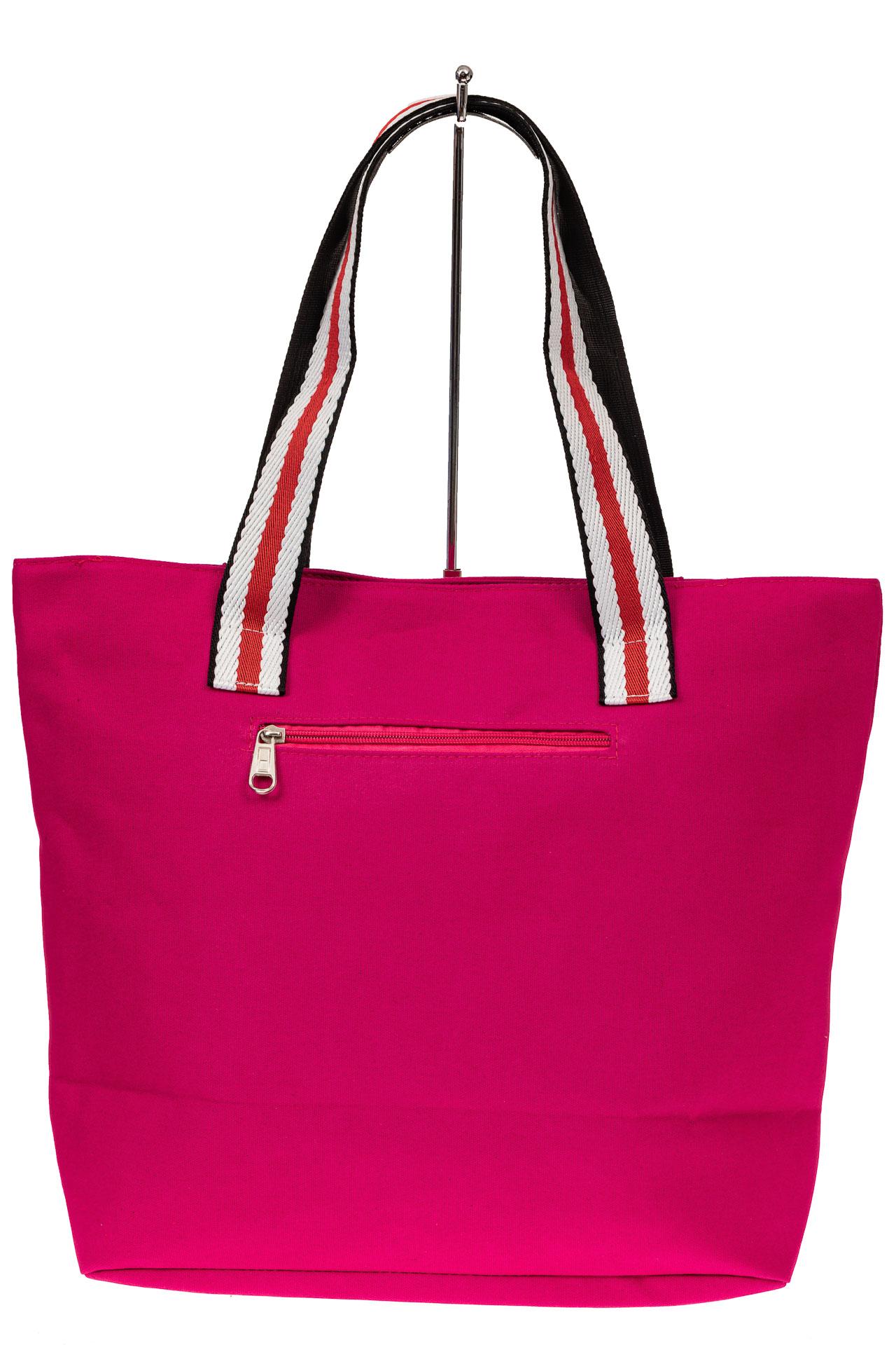 На фото 2 - Большая пляжная сумка из текстиля, цвет розовый