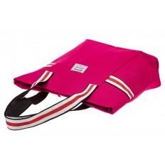 На фото 3 - Большая пляжная сумка из текстиля, цвет розовый