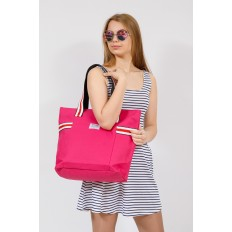На фото 4 - Большая пляжная сумка из текстиля, цвет розовый