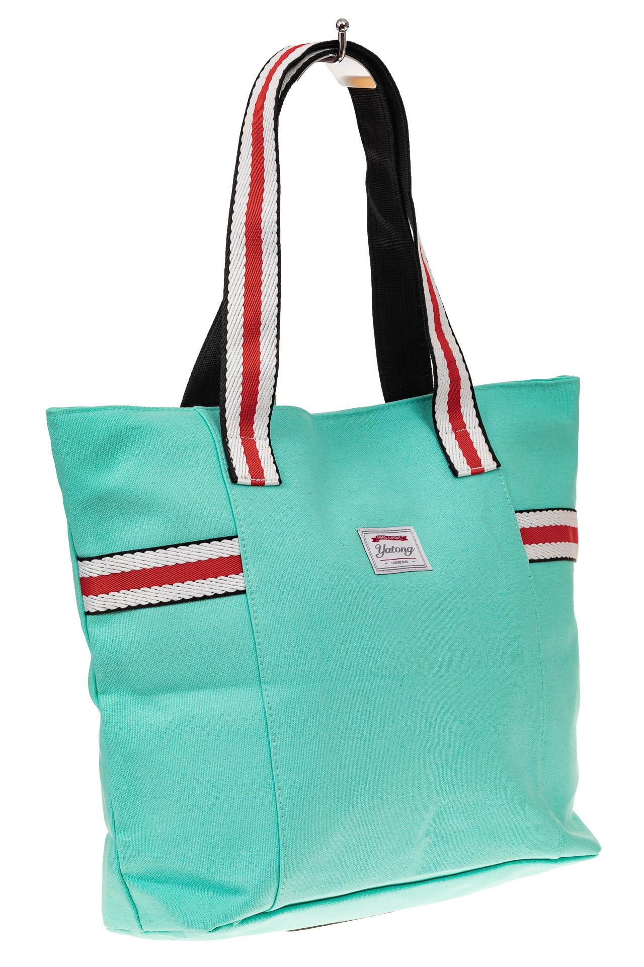 На фото 1 - Большая пляжная сумка из текстиля, цвет мята