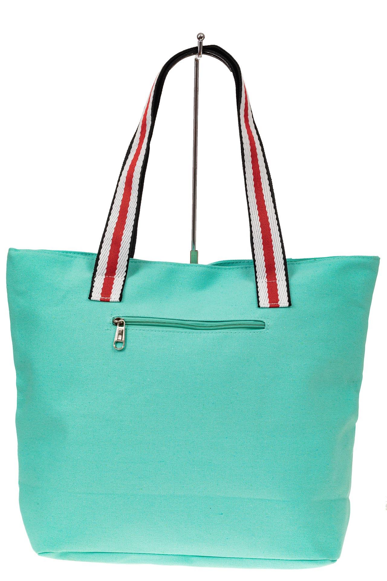 На фото 2 - Большая пляжная сумка из текстиля, цвет мята