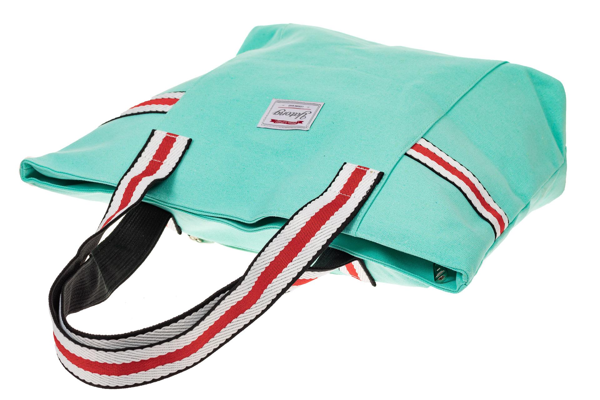 На фото 3 - Большая пляжная сумка из текстиля, цвет мята