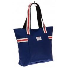 На фото 1 - Большая пляжная сумка из текстиля, цвет син...