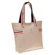 На фото 1 - Большая пляжная сумка из текстиля, цвет кофе с молоком