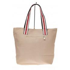 На фото 2 - Большая пляжная сумка из текстиля, цвет кофе с молоком
