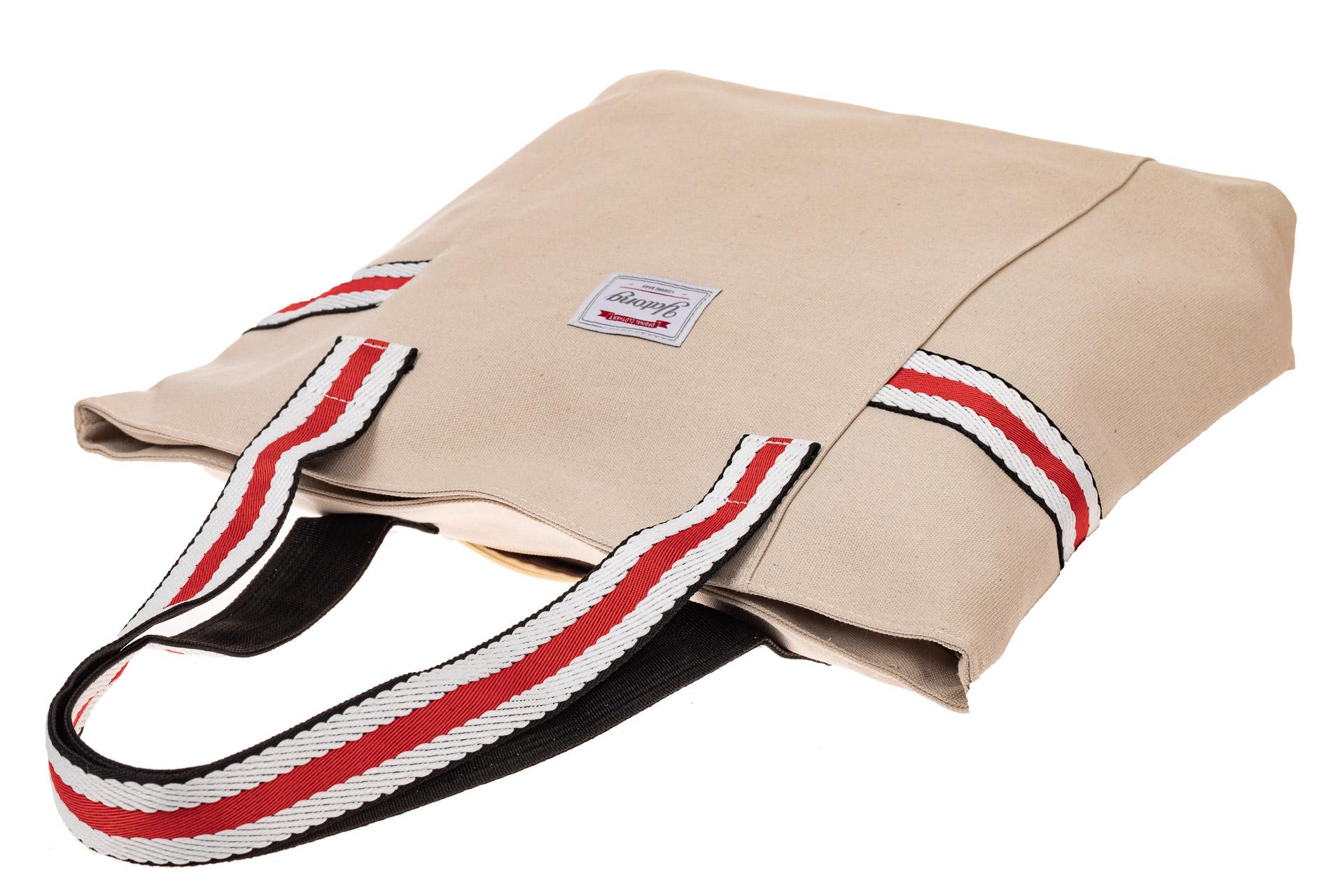 На фото 3 - Большая пляжная сумка из текстиля, цвет кофе с молоком