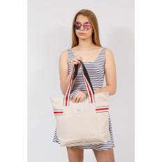 На фото 4 - Большая пляжная сумка из текстиля, цвет кофе с молоком
