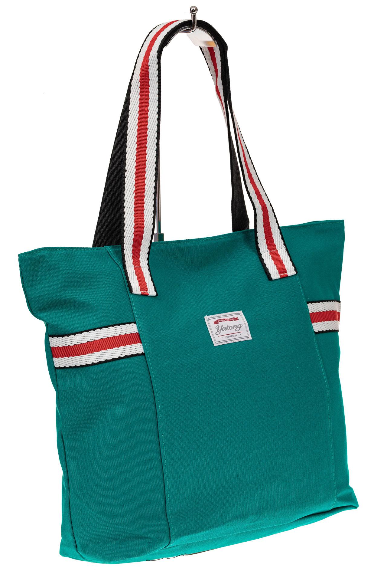На фото 1 - Пляжная сумка большого размера из текстиля, цвет зеленый