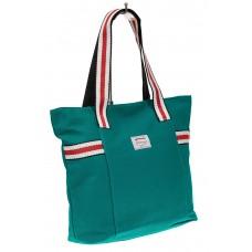 На фото 1 - Большая пляжная сумка из текстиля, цвет зел...