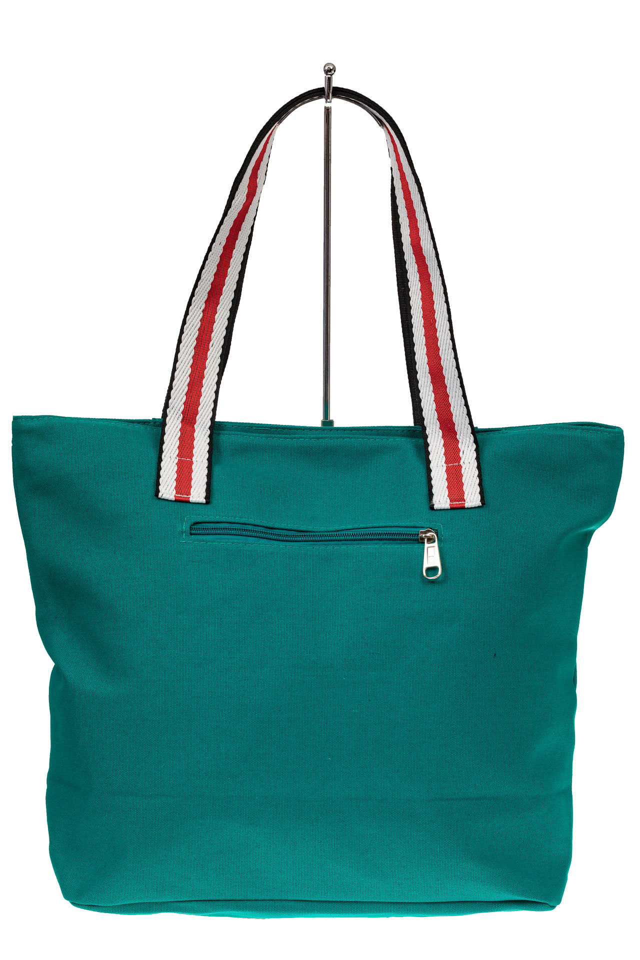 На фото 2 - Пляжная сумка большого размера из текстиля, цвет зеленый
