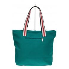На фото 2 - Большая пляжная сумка из текстиля, цвет зеленый