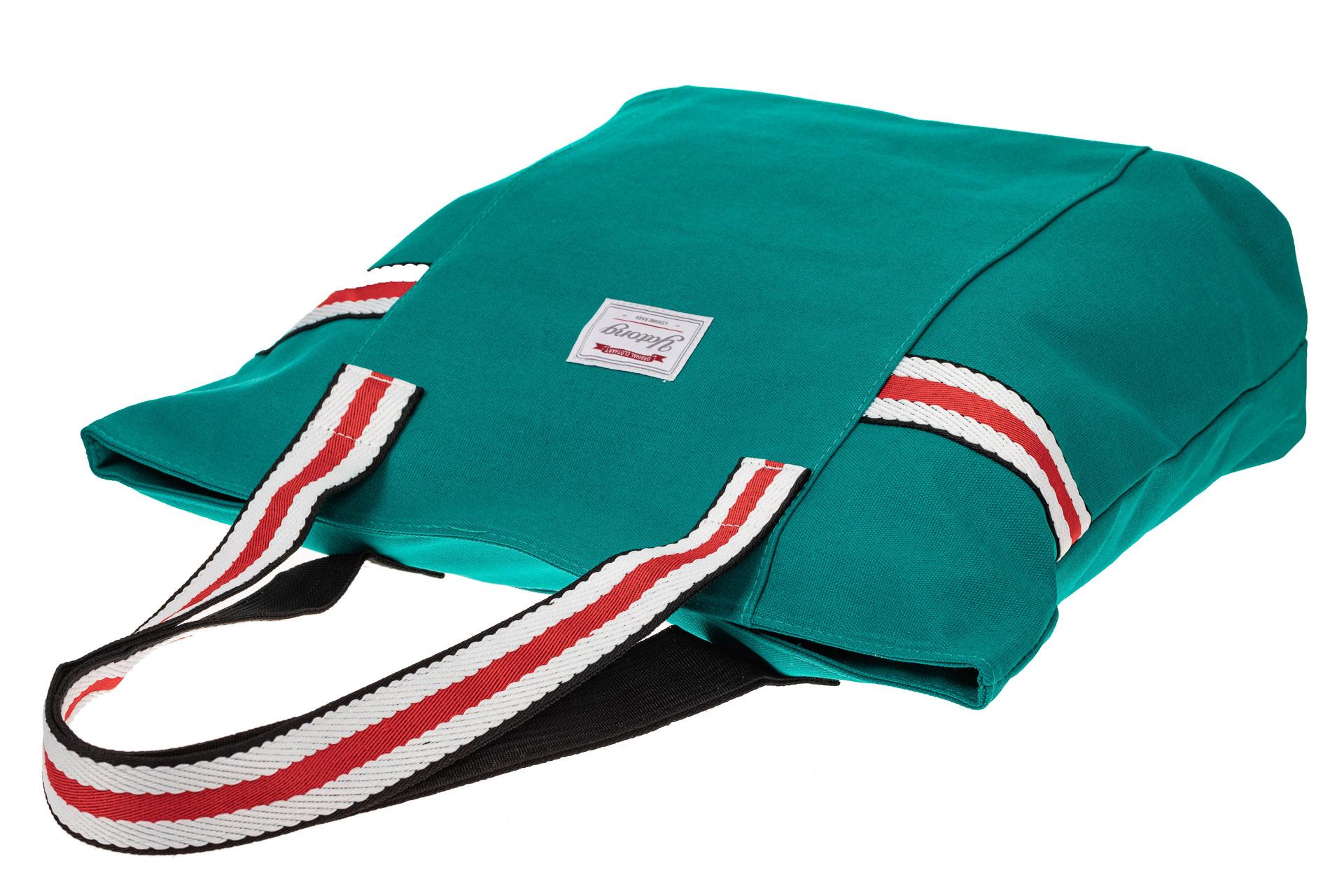 На фото 3 - Пляжная сумка большого размера из текстиля, цвет зеленый