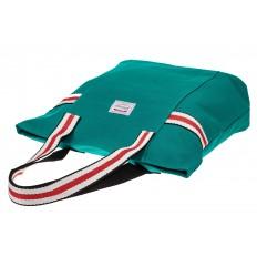 На фото 3 - Большая пляжная сумка из текстиля, цвет зеленый
