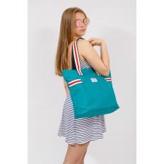 На фото 4 - Большая пляжная сумка из текстиля, цвет зеленый