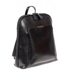 На фото 1 - Женский рюкзак из натуральной кожи, цвет чёрный