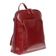 На фото 1 - Женский рюкзак из натуральной кожи, цвет красный