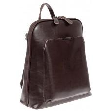 На фото 1 - Женский рюкзак из натуральной кожи, цвет шоколад